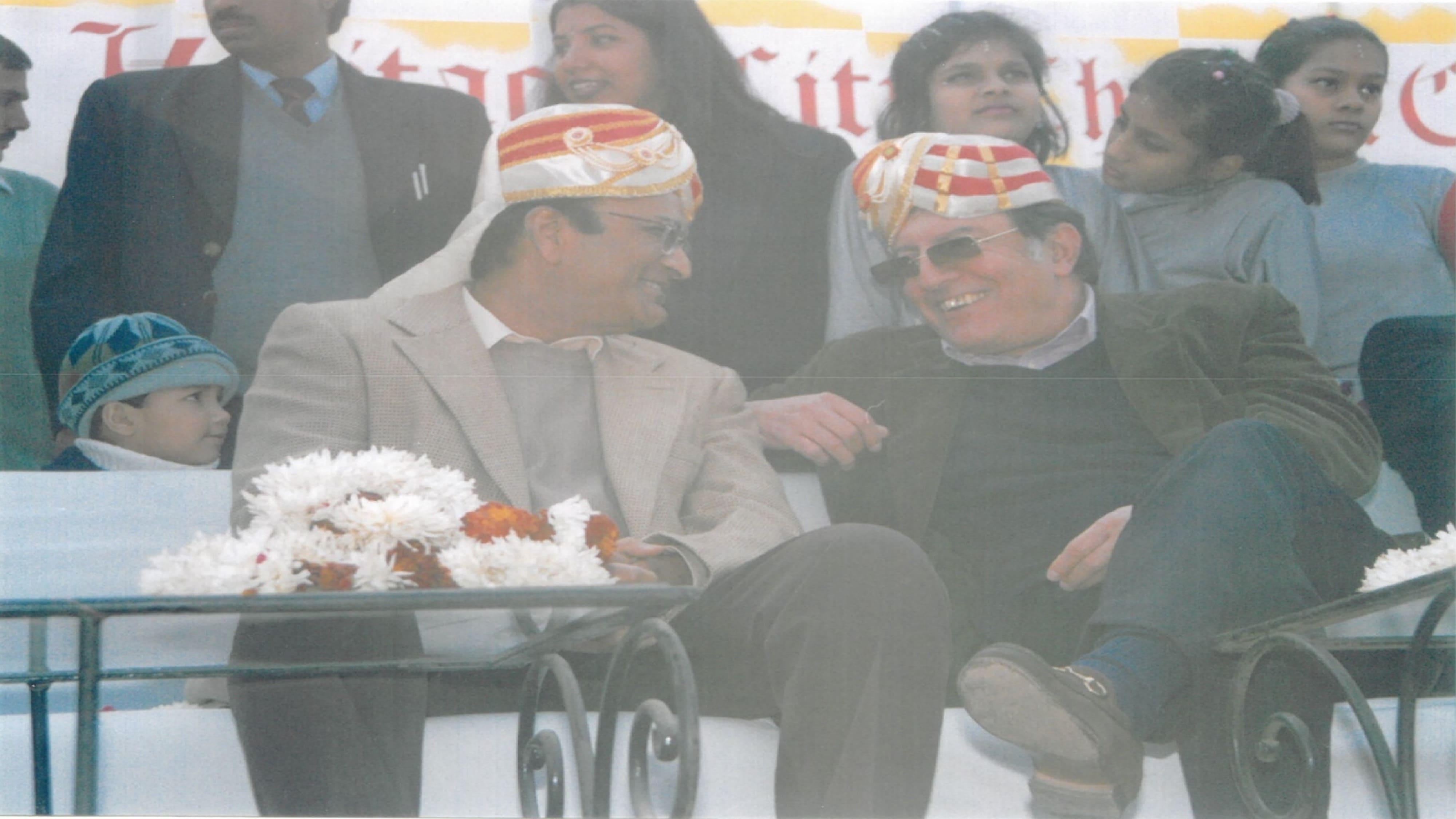 Nawab Pataudi Ji sharing a grin with Dr. Raghupati Singhania.